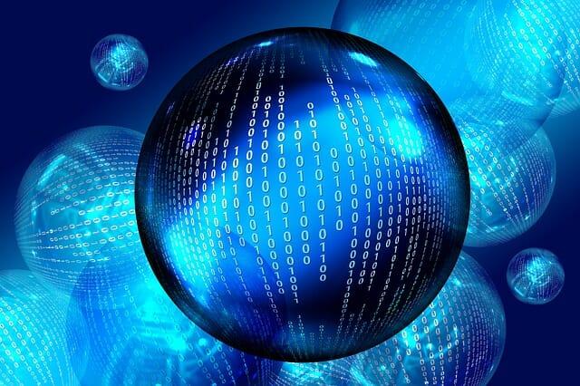Honlapkészítés, WordPress céges weboldal illusztráció, bináris kék gömb