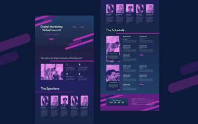 Online konferencia érkező oldal (landing page)